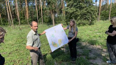 Mann und Frau zeigen Karte im Wald