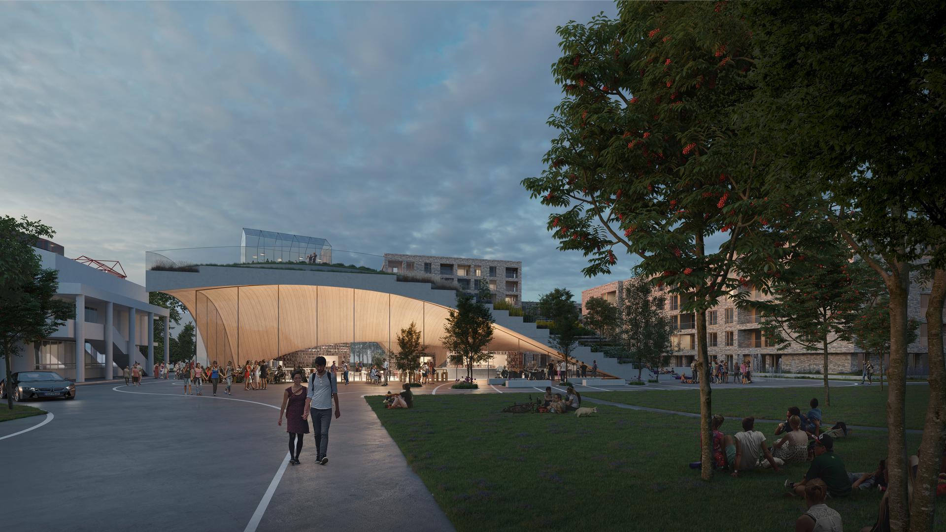 In die Umgebung eingepasst: Der Entwurf des niederländischen Architekten Winy Maas für die neue Gemeindebibliothek in Graben-Neudorf findet in der überarbeiten Ausführung viel Bewunderung.  Die Treppenanlage könnte sich vielfältig, auch für kulturelle Ereignisse, nutzen lassen.
