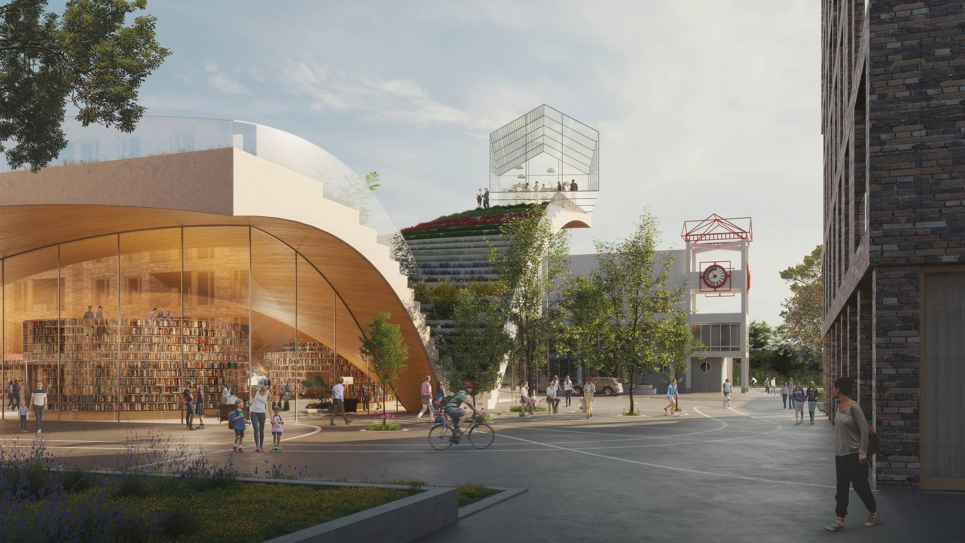In einer Linie: Die künftige Gemeindebücherei liegt genau neben dem Rathaus (hinten). Das Projekt soll einen neuen Höhepunkt in 50 Jahren Gemeindegeschichte bilden.