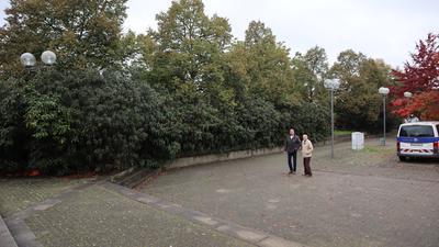 Bäume und Gebüsch, zwei Männer, Parkplatz