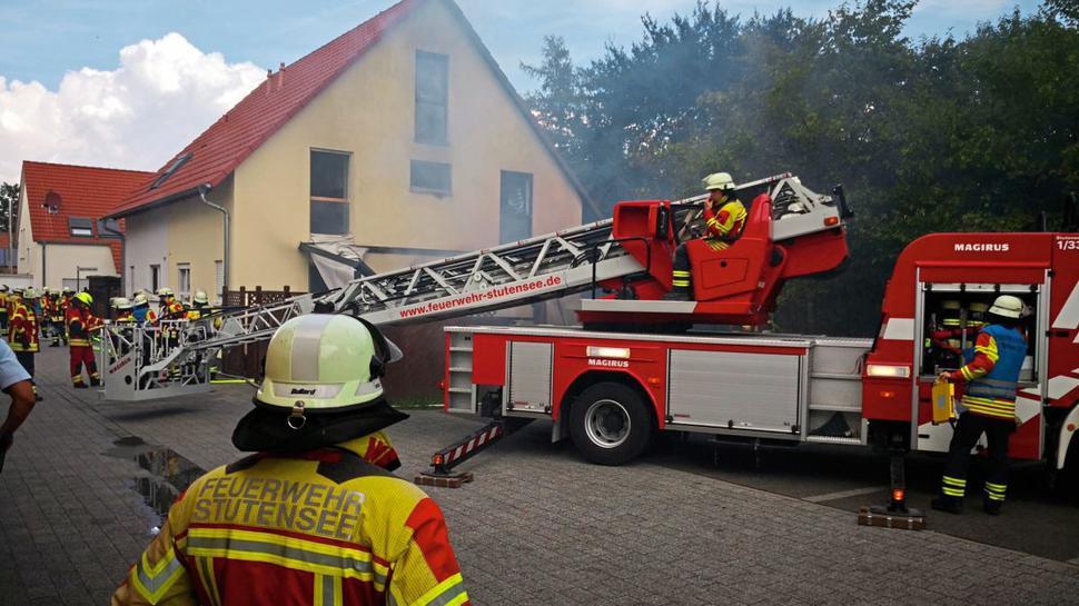 Die Feuerwehr Stutensee ist im Einsatz.