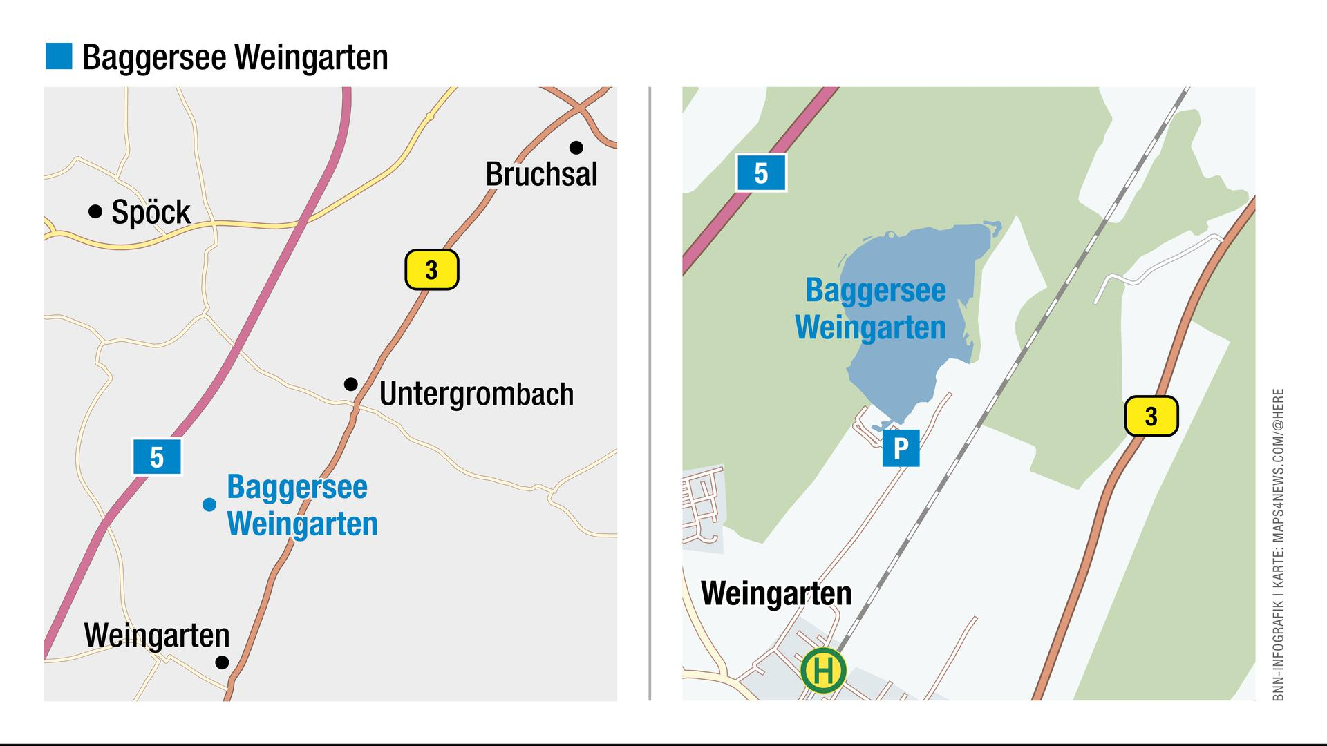 Blick auf die Landkarte: Hier liegt der Baggersee Weingarten.