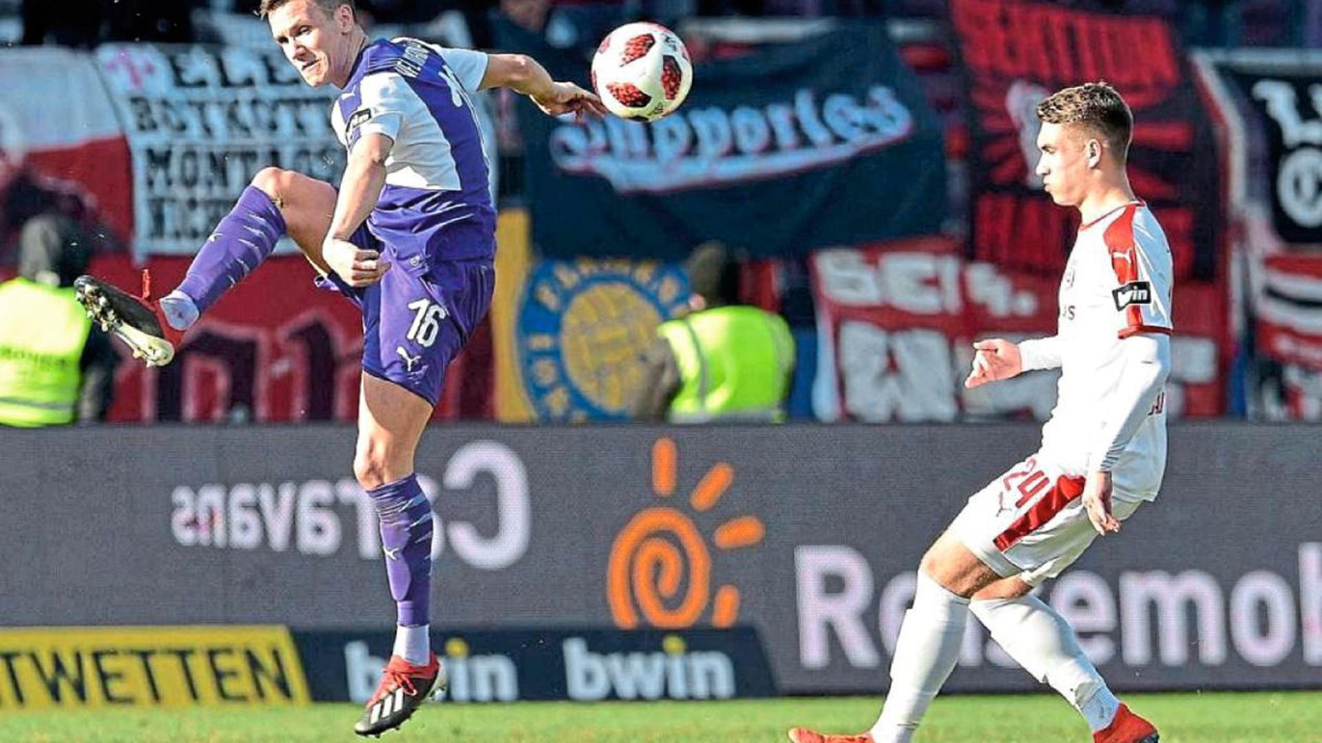 Sein Debüt für den VfL Osnabrück gab der beim Karlsruher SC ausgebildete Verteidiger Thomas Konrad (links) am vergangenen Wochenende beim 2:0 gegen Halle.