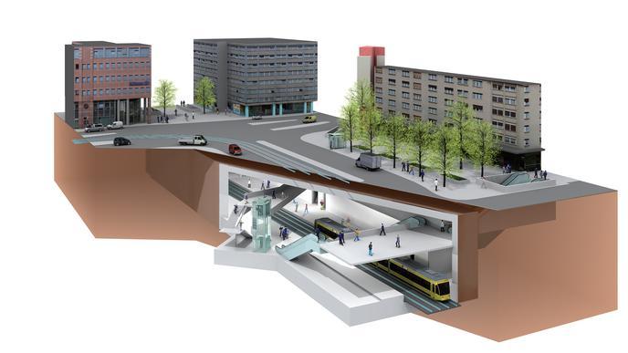 Illustration der unterirdischen Straßenbahn-Haltestelle am Kronenplatz in Karlsruhe.