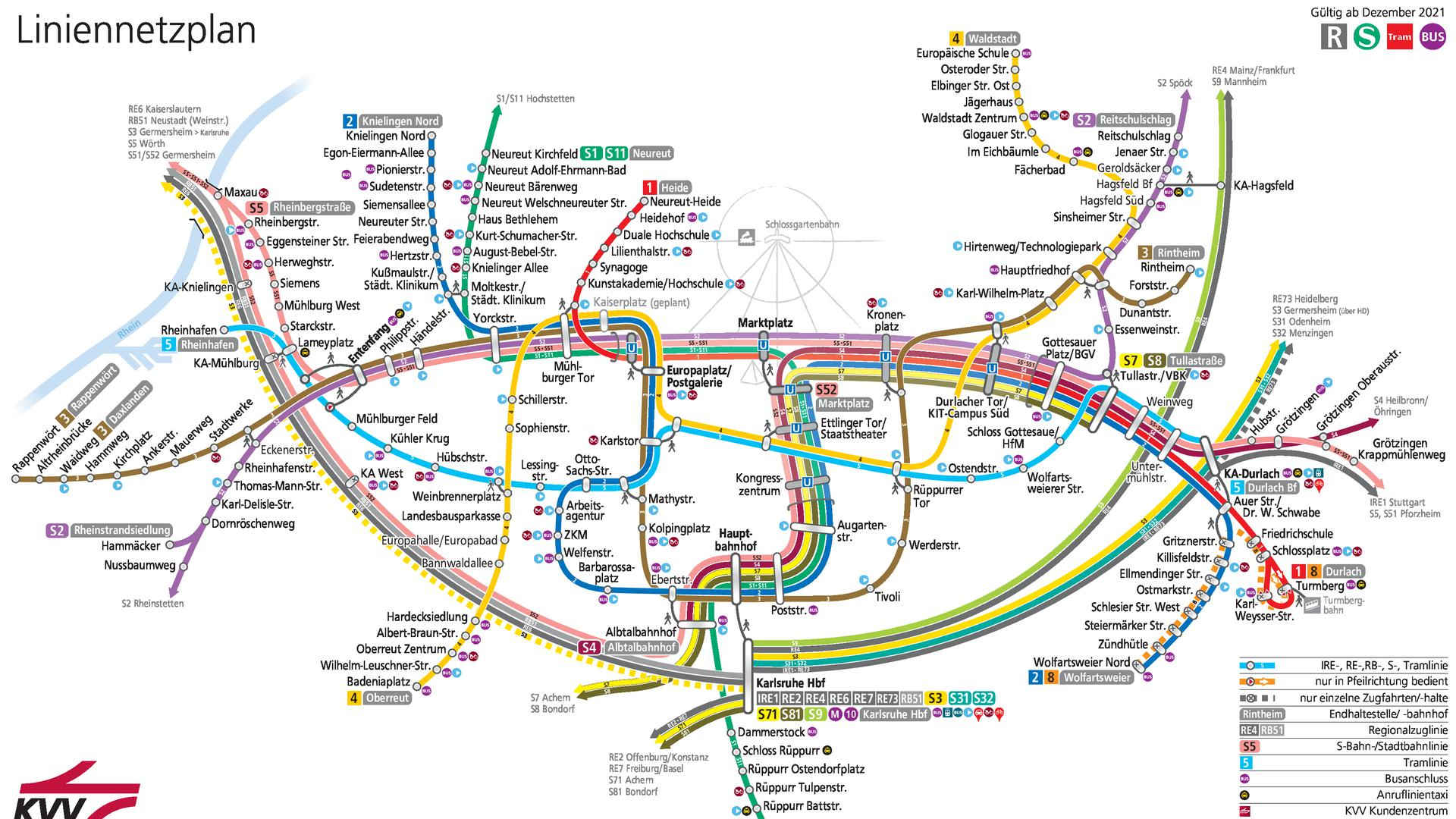 Liniennetzplan nach Abschluss der Kombilösung Karlsruhe um Dezember 2021