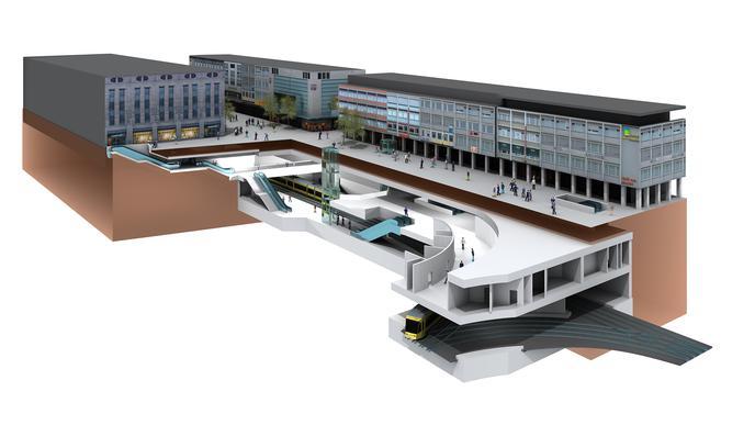 Illustration der neuen unterirdischen Straßenbahn-Haltestelle Lammstraße in Karlsruhe.