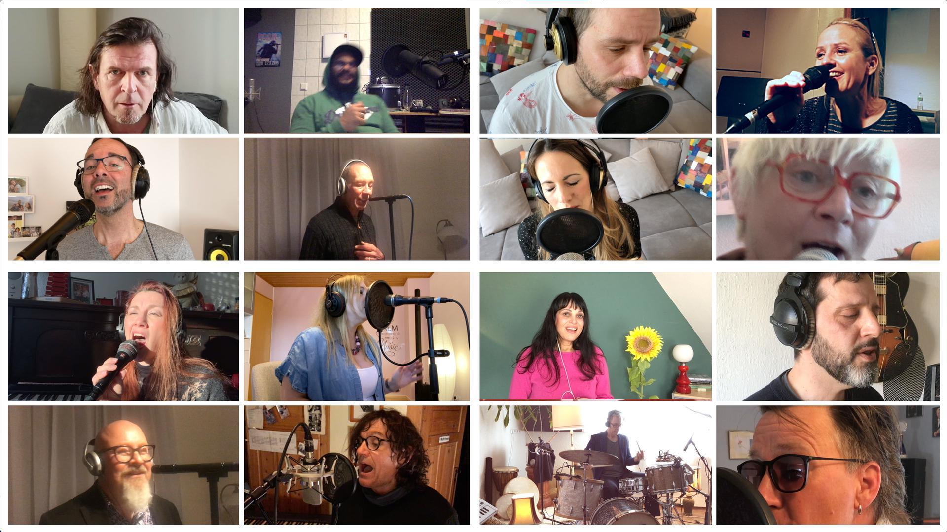 """Zusammen sind sie ein Chor: Screenshot aus dem Video zur Neueinspielung des Hits """"You've Got A Friend"""" mit Sängerinnen und Sängern aus der Region."""