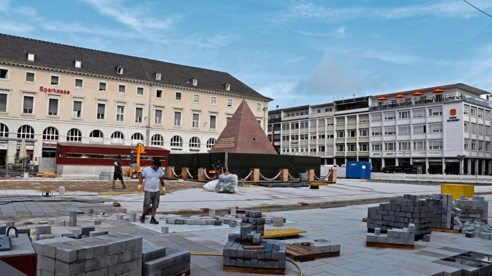 Der Karlsruher Marktplatz im August 2019