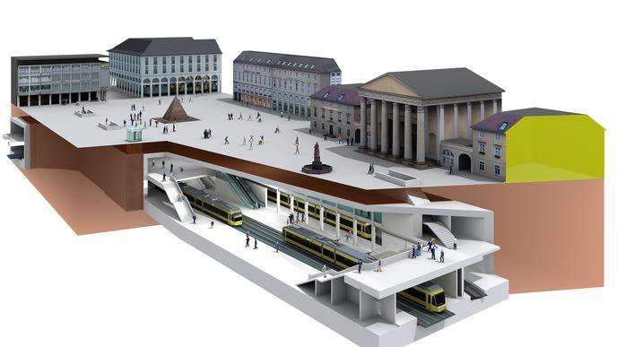 Illustration des zukünftigen Marktplatzes in Karlsruhe mitsamt der unterirdischen Haltestelle unter der Pyramide.