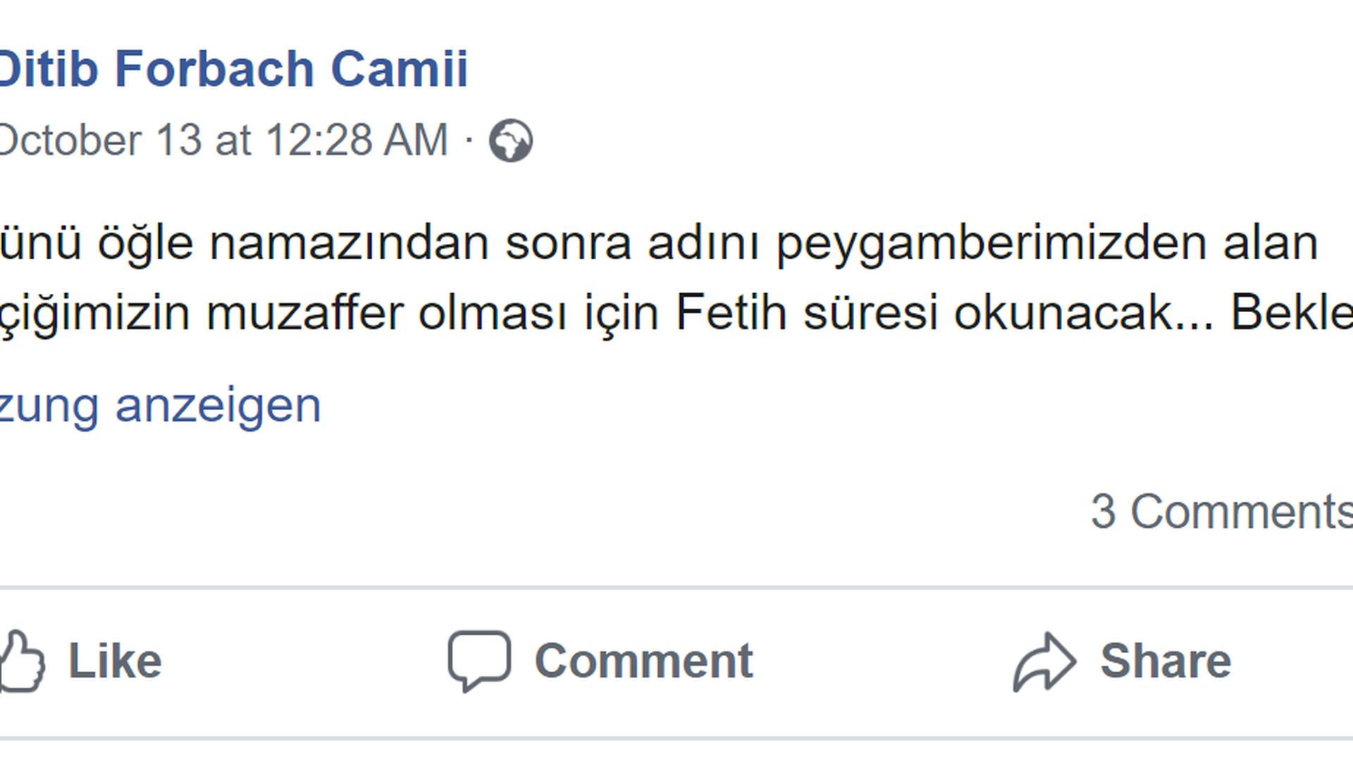 In der Ditib-Moschee Forbach wird für den türkischen Sieg gebetet.