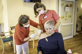 Impfaktion des Impfzentrums Sulzfeld im Wössinger Seniorenzentrum Losenberg