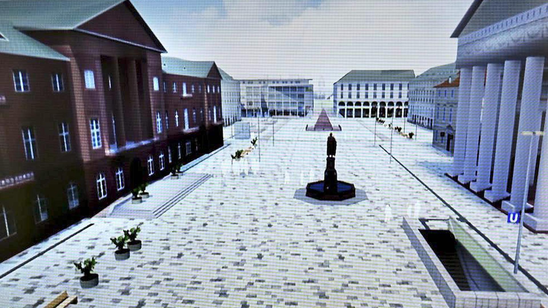 Den Blick in die Zukunft des Marktplatzes kann jetzt jeder Bürger wagen und virtuell um die Pyramide und den Ludwigbrunnen düsen.