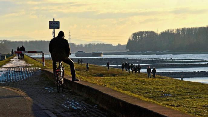 Am Rhein bei Maxau gehen viele Karlsruher gerne spazieren oder Radfahren.