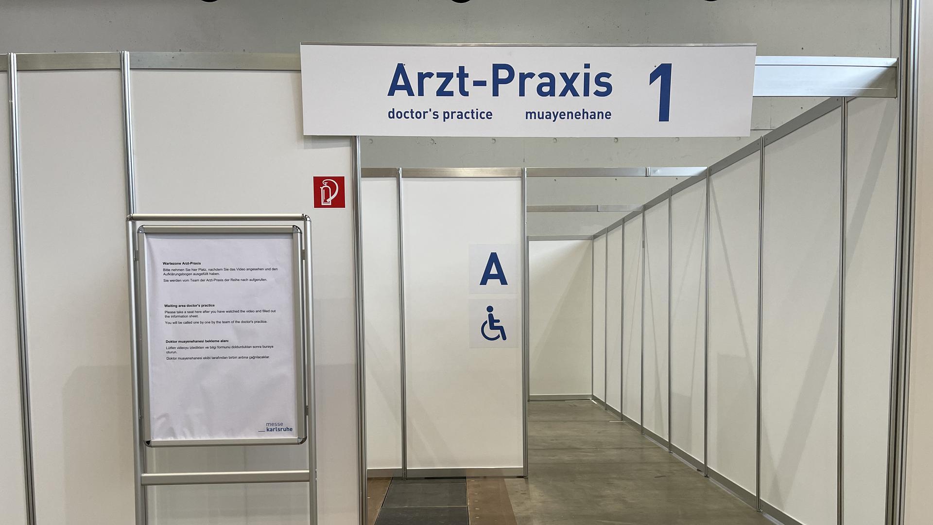 Barrierefreie Arzt-Praxis 1 im Impfzentrum in der Messe Karlsruhe