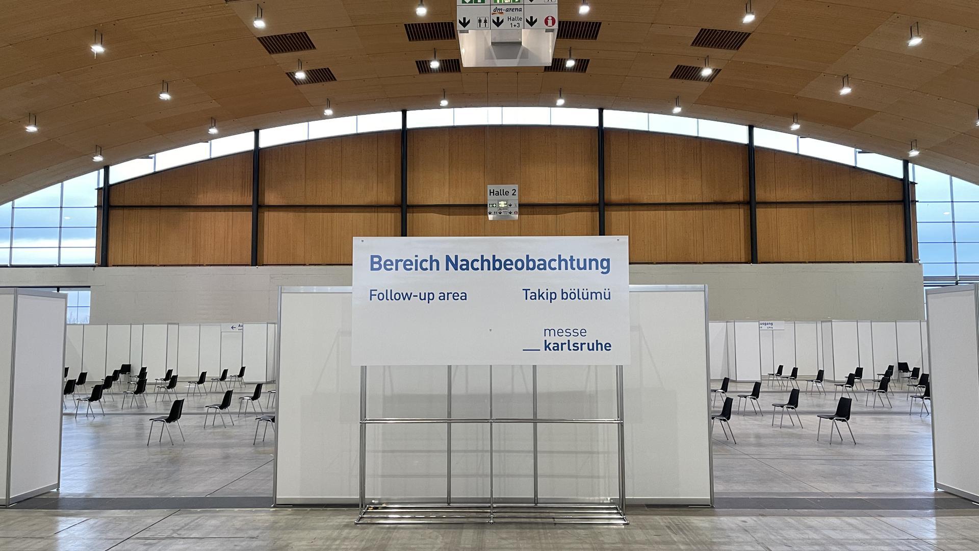 Bereich Nachbeobachtung Impfzentrum Messe Karlsruhe