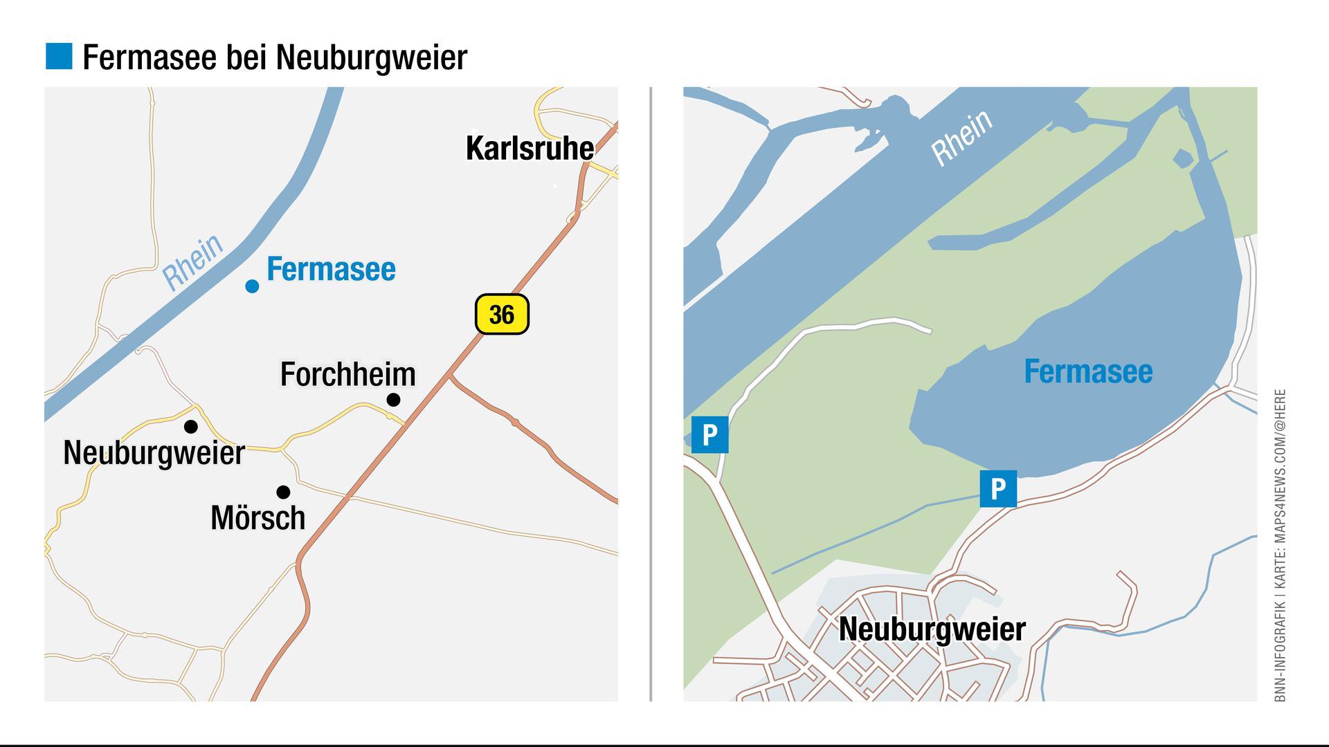 Blick auf die Landkarte: Hier liegt der Fermasee in Rheinstetten-Neuburgweier.