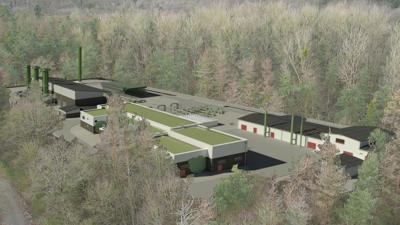 Fotomontage, die eine Gasverdichterstation im Wald zeigt