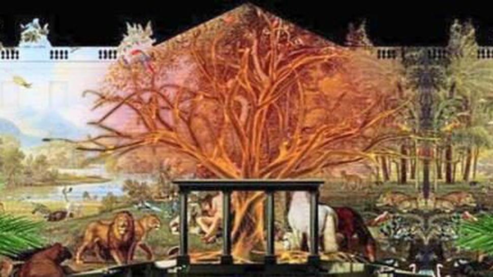 """Die Fotos zeigen Ausschnitte aus dem Showprogramm der Schlosslichtspiele. Sie stehen unter dem Motto """"Ein Sommer der Liebe und des Lebens"""" und thematisieren die Entstehung der Welt und des Menschen. Natur und Wissenschaft werden dabei medienkünstlerisch gestaltet"""