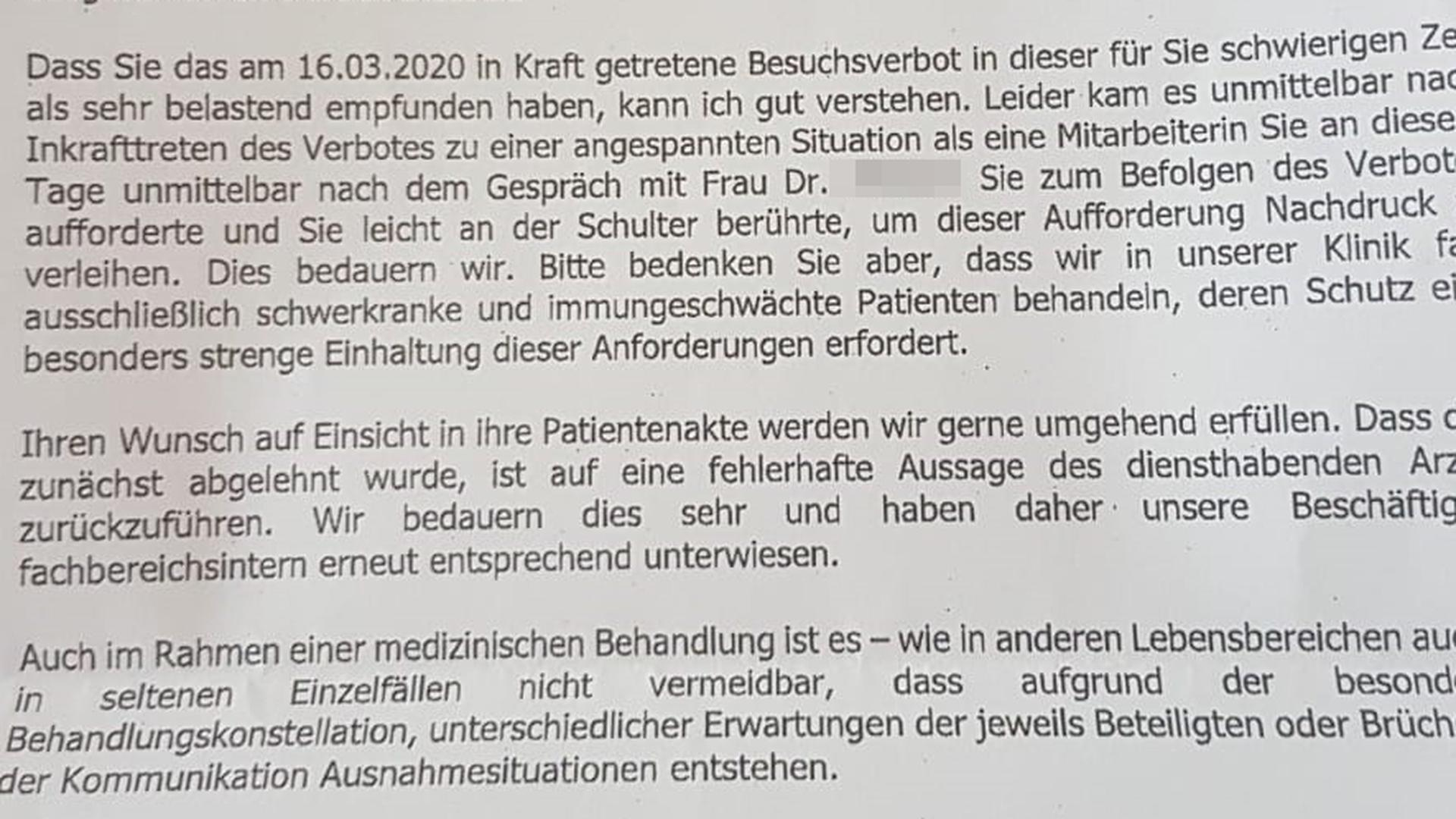 Ein Teil der Stellungnahme von Klinik-Geschäftsführer Uwe Spetzger.