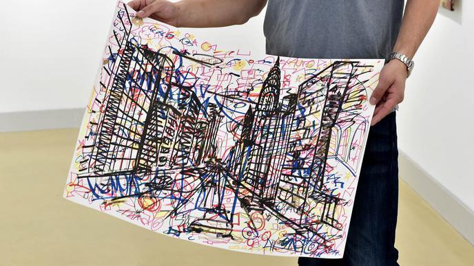 Die Zeichnung von Oliver Maichle in Großaufnahme.