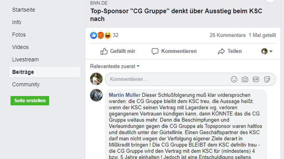 """Martin Müller hat auf der Facebookseite """"Gegengerade Karlsruhe"""" kommentiert."""