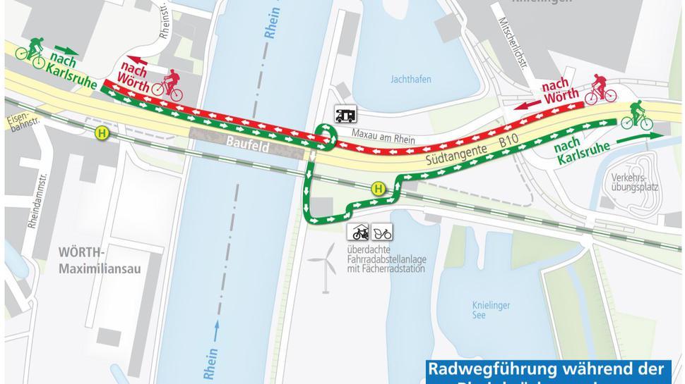 Radler müssen auf der Rheinbrücke in Richtung Karlsruhe eine kleine Schleife fahren. Weil nur eine Richtung geöffnet ist, kann es bei Gegenverkehr auf dem Radweg eng werden.