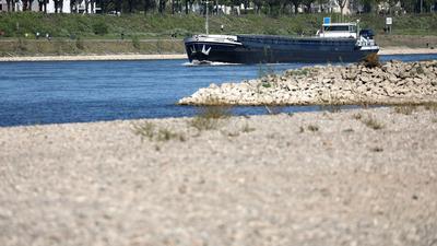 Ein Schiff fährt hinter einer freiliegenden Sandbank über den Rhein.