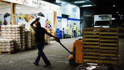 Karlsruhe: Ein Mitarbeiter der «Rolf Koch GmbH» transportiert Paletten mit Obst über eine Straße des Großmarkts.