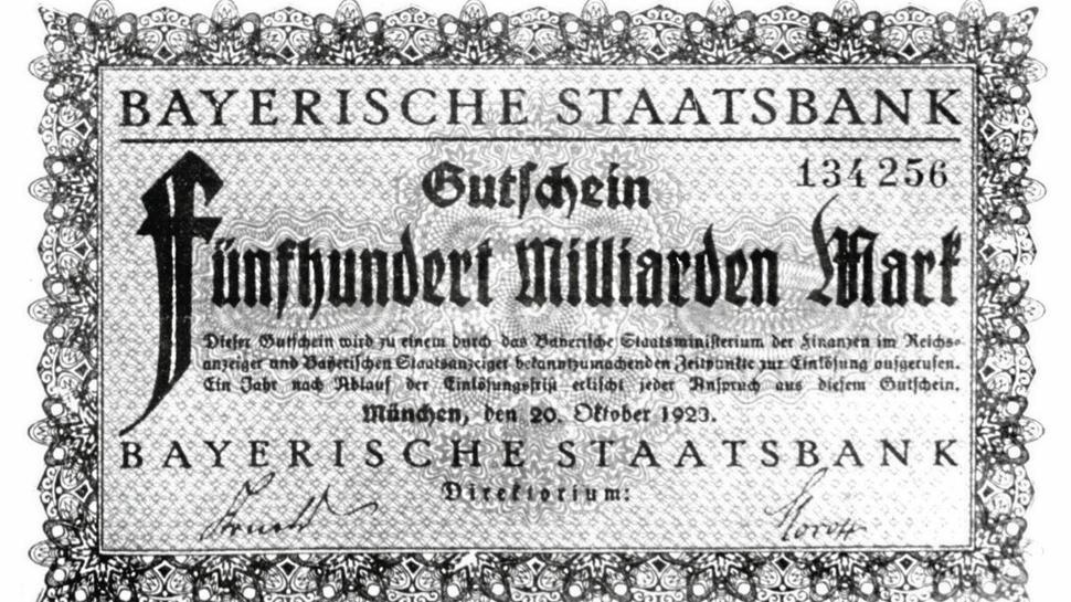 Ein Gutschein über fünfhundert Milliarden Mark, ausgegeben von der Bayerischen Staatsbank 1923.