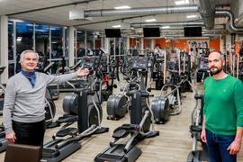 Richard Brüssel und Andreas Brüssel (von links), Bretten Fitnessstudio
