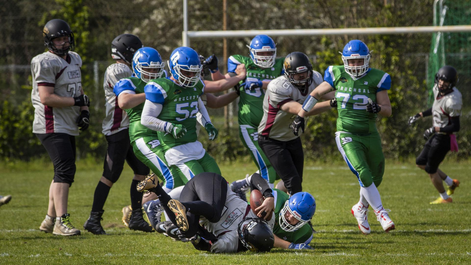 07.04.2019, Bruchsal, American Football,  Bruchsal Rebels - Bretten Panthers,