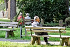 Bänke im Brettener Stadtpark.