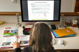 """Ein Schüler am Bildschirm. Er löst am Computer in seinem Zuhause seine Schulaufgaben, die ihm seine Lehrer für jeden Tag über den Schulserver geschickt haben. (zu dpa """"Aufgaben im stillen Kämmerlein - wie läuft es mit dem «Fernunterricht»?"""") +++ dpa-Bildfunk +++"""