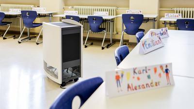 Luftreinigungsgerät in Klassenzimmer