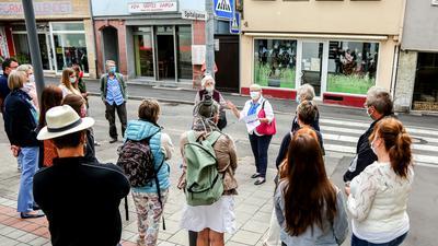 Rund 20 Menschen stehen an einer Straße, eine Frau in der Mitte erklärt.