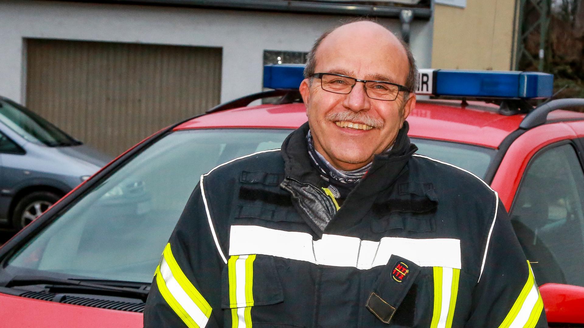 Feuerwehrmann Karlheinz Leichle von der Feuerwehr Bretten