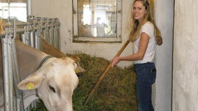 Christiane Dittes (rechts) im Stall mit ihren Kühen Lotte und Liesl.