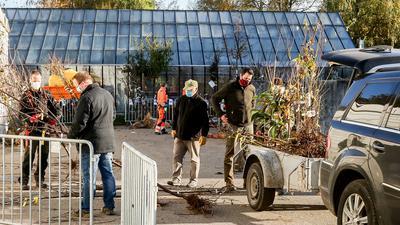 Mehrere Männer, zum Teil  in orangener Arbeitskleidung des städtischen Bauhofs, beschneiden Sträucher und beladen Anhänger.