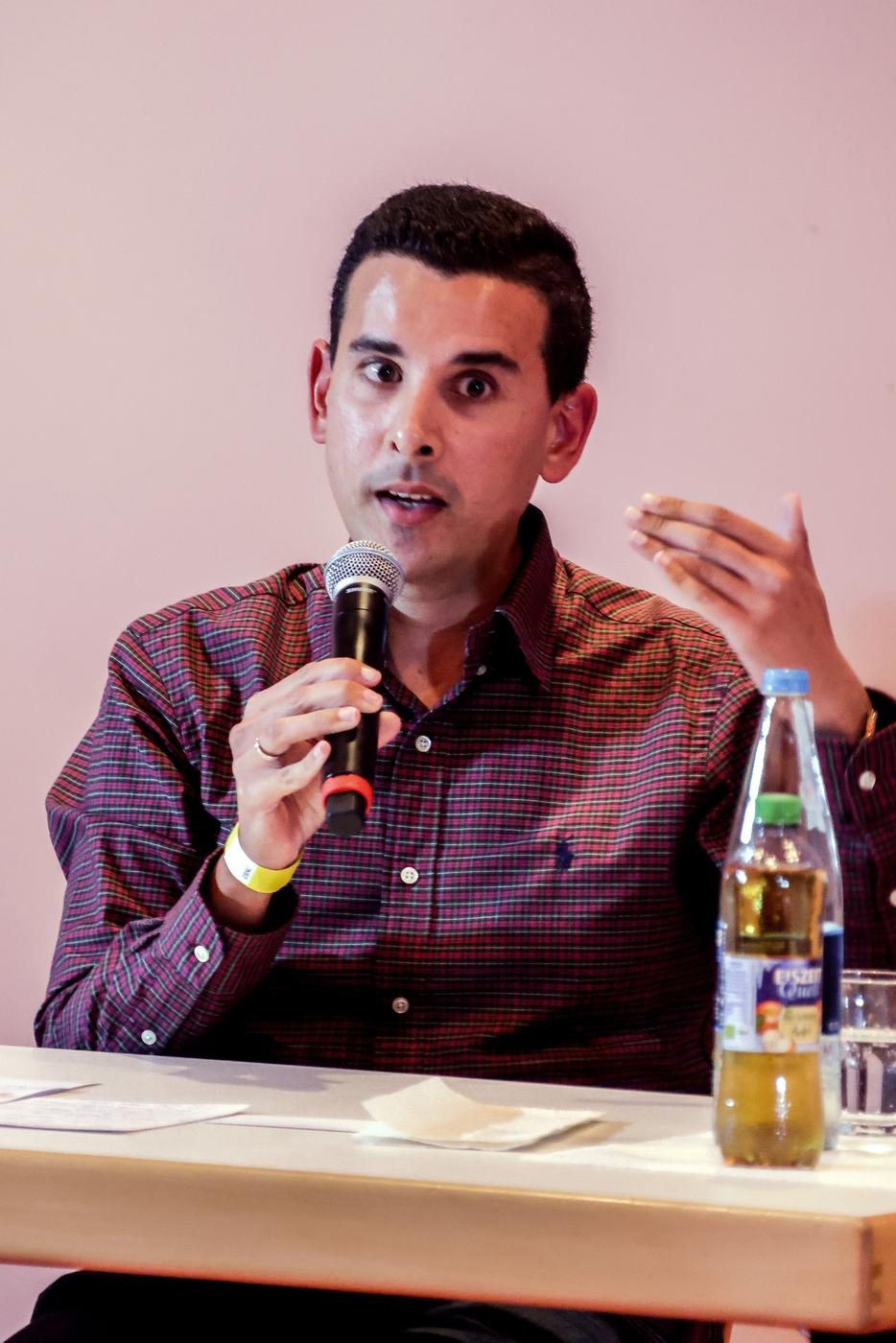 Patrick Diebold von der SPD bei der Diskussionsrunde in Bretten.