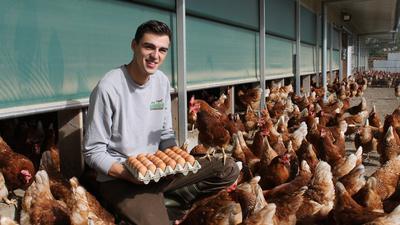 Tobias Burkhard kniet inmitten seiner Hühner und präsentiert frische Eier.
