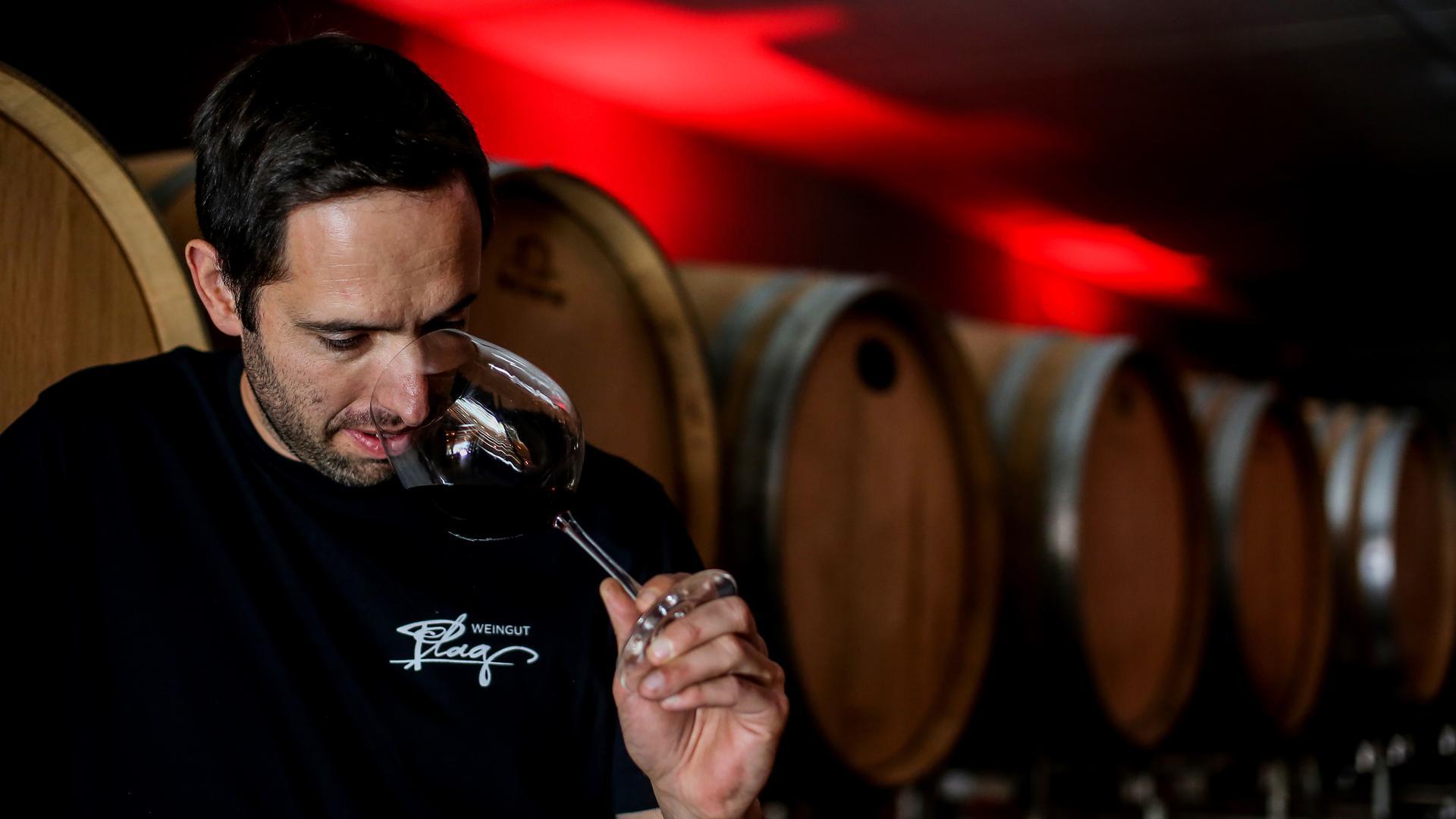 Ein Mann riecht an einem Rotweinschwenker, im HIntergrund sind Weinfässer zu sehen.