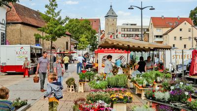 Ein Blick über den Wochenmarkt an Brettens Sporgasse zeigt vorne Stände mit Kräutern und Pflanzen und hinten den Pfeifferturm.