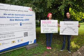 Plakataktion Bürgerverein Südstadt, Julia Dörr und Thorsten Münch