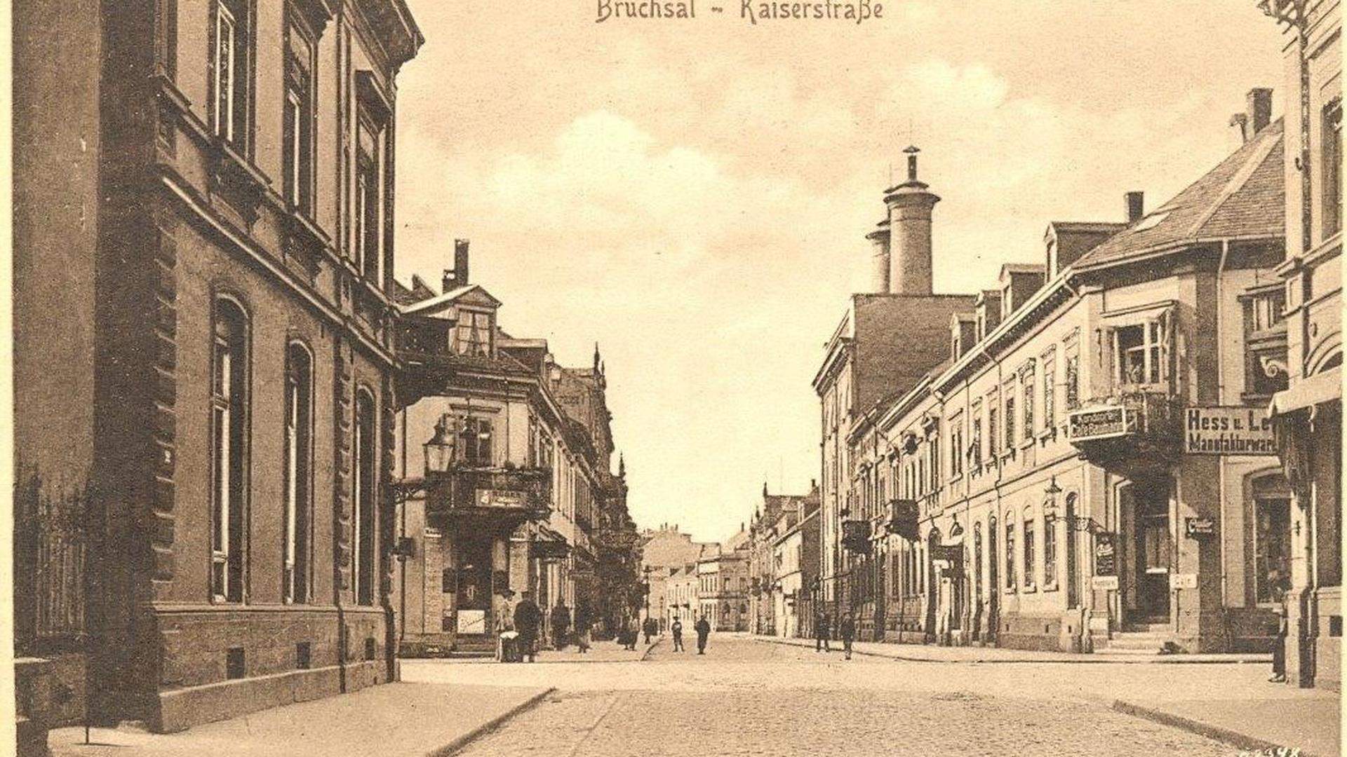 Historische Aufnahme von der Kaiserstraße in Bruchsal mit der Malzfabrik Marx