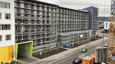 Noch im Bau: Trotzdem sind bereits 126 Wohnungen des Studentenwohnheims vermietet.