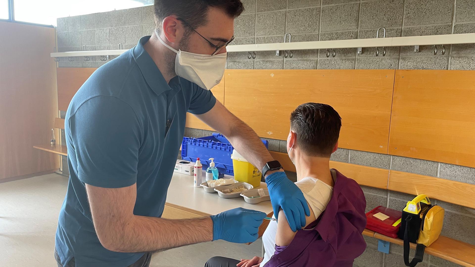 Eine Pop-Up-Impfung in der Balthasar-Neumann-Schule in Bruchsal.