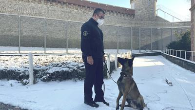 Michael Geist und Drogenspürhund Max vor der Justizvollzugsanstalt Bruchsal