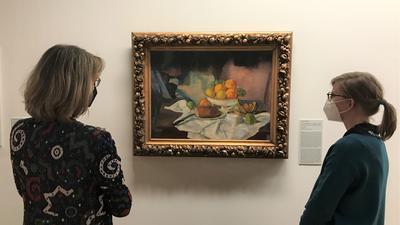 Leo Kahn: Früchtestillleben mit Brot, 1924