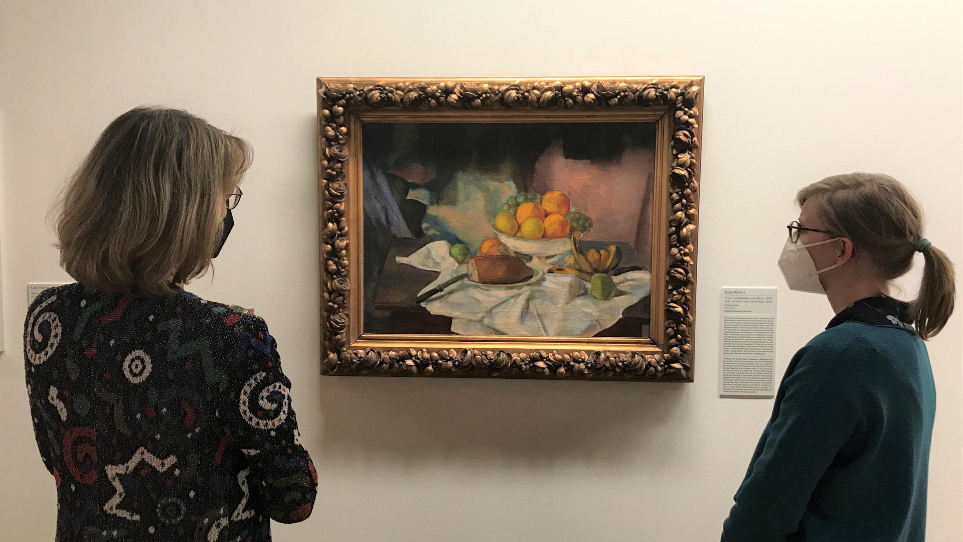 Leo Kahn: Früchtestilleben mit Brot, 1924