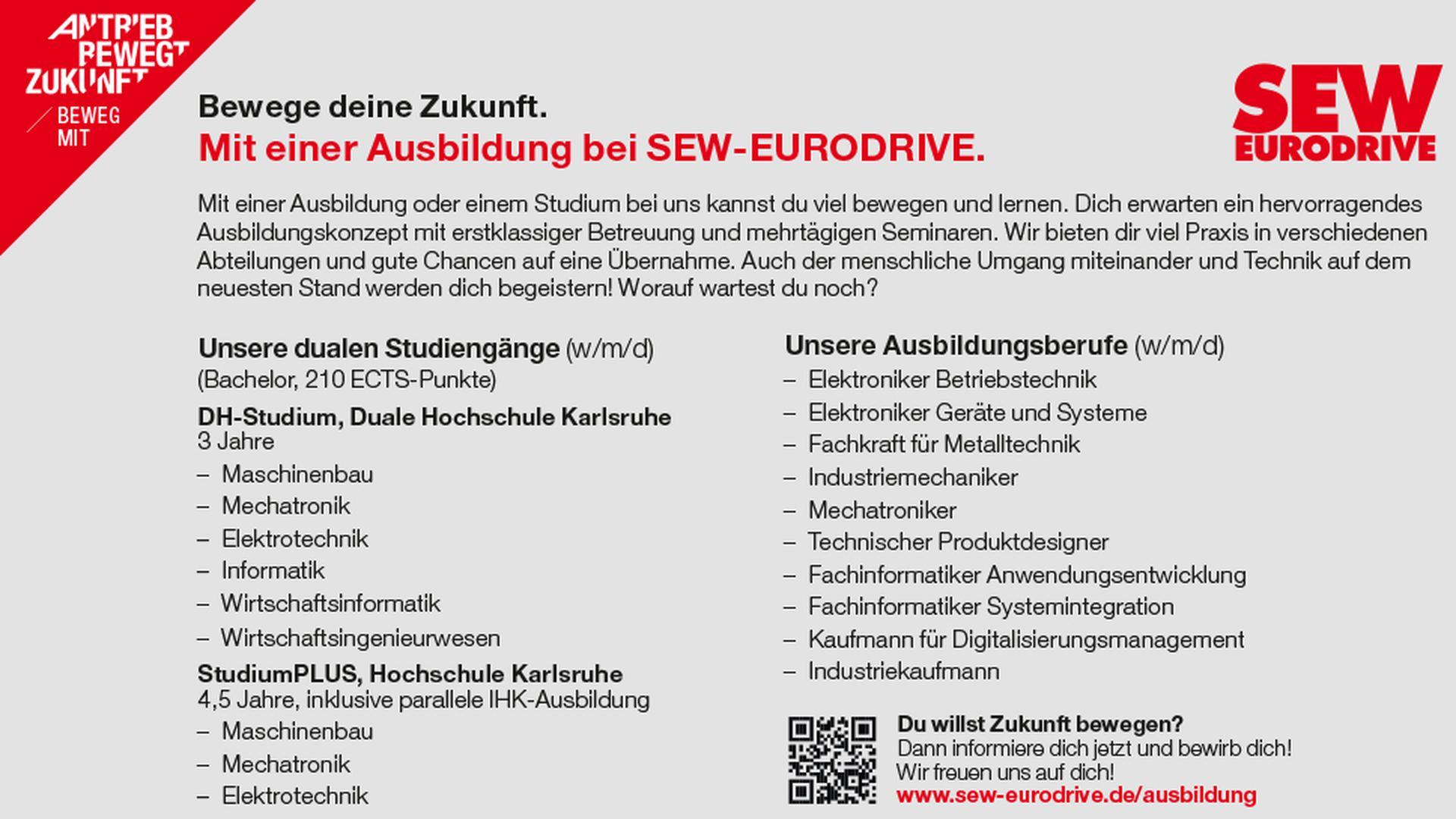 Ausbildung oder Studium bei SEW Eurodrive